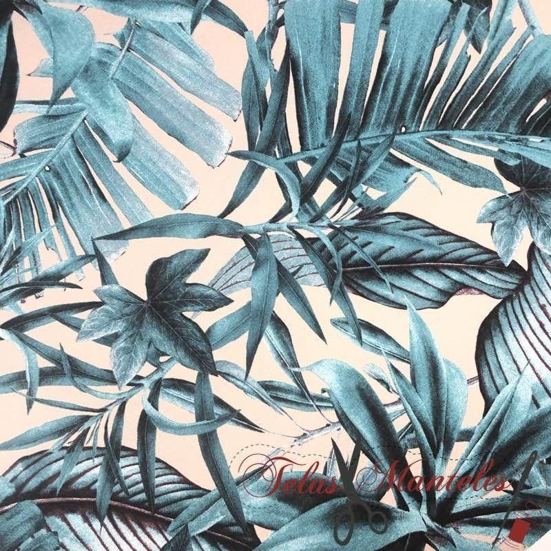 Tela Esmerilada Tropical Turquesa