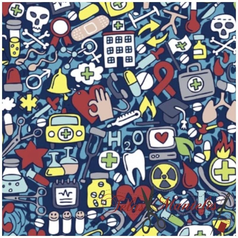 Algodón Dibujos Sanitarios Azul